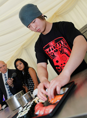 Preparing food and wasabi at the Sheffield Food Festival