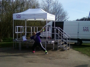 Starting Podium for the Neurocare 10k Run, Rother Valley, Sheffield