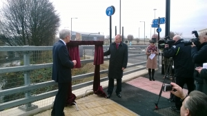 Rt Hon Andrew Jones MP, Parliamentary Under Secretary of State for Transport, officially opening the new Rapid Bus Transit Scheme from Meadowhall Interchange to Rotherham Town Centre, December 2016
